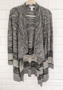 WHBM Black/Gray Open Cardigan Sweater